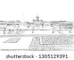 gurdwara bangla sahib. new... | Shutterstock .eps vector #1305129391