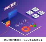 isometric vector. set of login  ... | Shutterstock .eps vector #1305133531