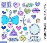 love doodles set. valentines... | Shutterstock .eps vector #1305158947