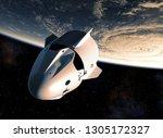 commercial spacecraft orbiting... | Shutterstock . vector #1305172327