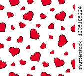 red heart pattern | Shutterstock .eps vector #1305185224