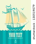 Banner With Sailing Boat And...