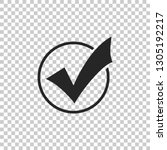 check mark in round icon... | Shutterstock .eps vector #1305192217
