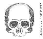 skull silhouette from numbers 0 ... | Shutterstock .eps vector #1305192247