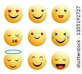 emoticon collection with... | Shutterstock .eps vector #1305192727