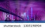night metropolis skyline...   Shutterstock .eps vector #1305198904