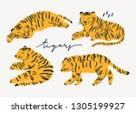 tiger lies in various poses....   Shutterstock .eps vector #1305199927