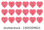 set of flat heart shape... | Shutterstock .eps vector #1305209821