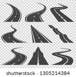 curved roads vector set.... | Shutterstock .eps vector #1305214384