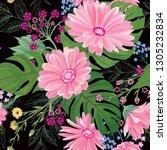 floral seamless pattern. garden ... | Shutterstock .eps vector #1305232834