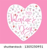 collection of hand drawn... | Shutterstock .eps vector #1305250951