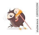 funny cartoon bird pulling a... | Shutterstock .eps vector #1305252394