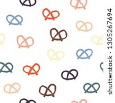 colorful pretzel repeat pattern.... | Shutterstock .eps vector #1305267694