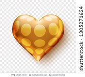 3d heart with pattern of golden ... | Shutterstock .eps vector #1305271624