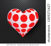 3d heart with pattern of red... | Shutterstock .eps vector #1305271627