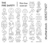 fire safety thin line icon set  ... | Shutterstock .eps vector #1305277657
