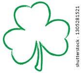 grunge clover shamrock leaf... | Shutterstock .eps vector #1305281521