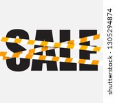 sale sign with a caution... | Shutterstock .eps vector #1305294874
