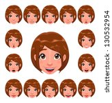 girl expressions with lip sync. ... | Shutterstock .eps vector #130532954