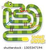 snake ladder game template... | Shutterstock .eps vector #1305347194