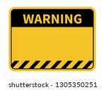 warning sign. yellow background ... | Shutterstock .eps vector #1305350251