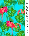 pattern with pink flamingo.... | Shutterstock .eps vector #1305356311