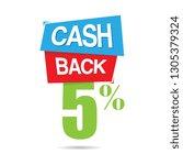vector cashback five percent... | Shutterstock .eps vector #1305379324