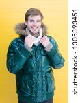 guy wear warm jacket with hood. ... | Shutterstock . vector #1305393451