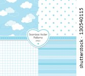 Stock vector vector set of background patterns in pale blue good for baby shower birthday scrapbook 130540115