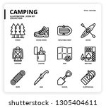 camping icon set | Shutterstock .eps vector #1305404611