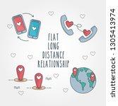 long distance relationship cute ...   Shutterstock .eps vector #1305413974