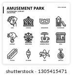 amusement park icon set | Shutterstock .eps vector #1305415471