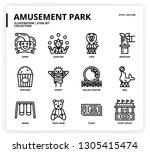 amusement park icon set | Shutterstock .eps vector #1305415474