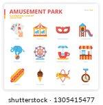 amusement park icon set   Shutterstock .eps vector #1305415477