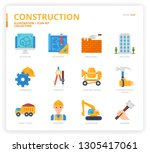 construction  icon set | Shutterstock .eps vector #1305417061