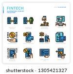 fintech icon set | Shutterstock .eps vector #1305421327