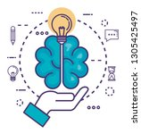 brain with innovation icons   Shutterstock .eps vector #1305425497