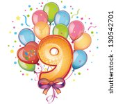 balloons on the ninth birthday | Shutterstock .eps vector #130542701