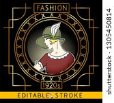 woman fashion 1920s in art deco ... | Shutterstock .eps vector #1305450814