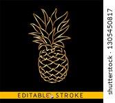 golden pineapple or ananas....   Shutterstock .eps vector #1305450817