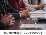press interview. hand gesture.... | Shutterstock . vector #1305459931