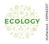 ecology concept banner with... | Shutterstock .eps vector #1305462337