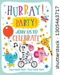 hurray  party  template with... | Shutterstock .eps vector #1305463717