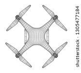 remote control air drone. dron... | Shutterstock . vector #1305477184