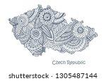 textured vector map of czech... | Shutterstock .eps vector #1305487144