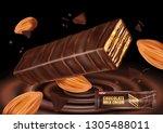milk chocolate flavor with... | Shutterstock .eps vector #1305488011