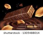 milk chocolate flavor with... | Shutterstock .eps vector #1305488014