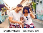 smiling caucasian couple...   Shutterstock . vector #1305507121