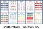 calendar 2020. colorful set.... | Shutterstock .eps vector #1305507427