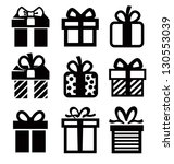 vector black gift icon set on...